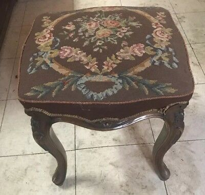 Antique French cabriole leg stool with needlepoint