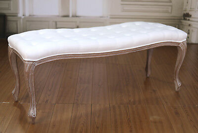Stool Ottoman End of Bed French Provincial Upholstered Linen Button Seat 120cms