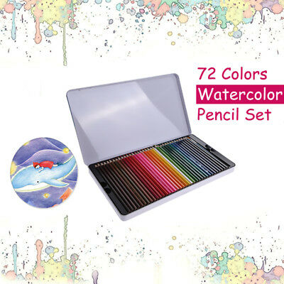 72X Watercolour pencils Tin Painting Water Color Soluble Non-toxic Art Drawing