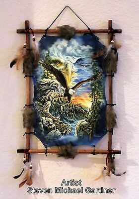 Indian Frame Mandella Picture Eagle Dream Catcher 22x16 bead feathers By Gardner