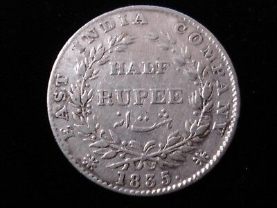 East India Company 1835 Half Rupee Silver Coin F incused #BB5