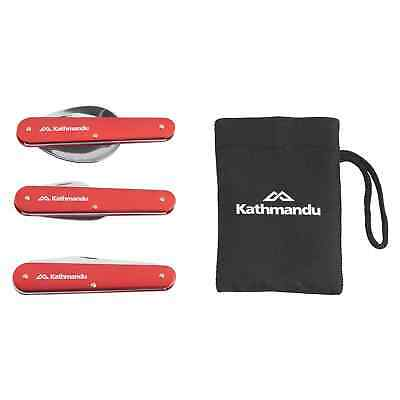 Kathmandu Foldable Stainless Steel 3 Piece Camping Hiking Cutlery Set Red New