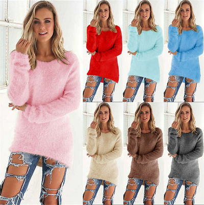 Women Velvet Fluffy Sweater Jumper Sweatshirt Long Sleeve Pullover Tops Blouse