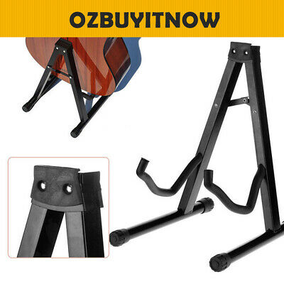 Folding A-Frame Guitar Stand Floor Rack Electric Acoustic Bass Gig Holder Black