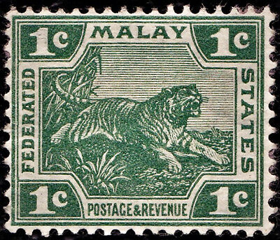 Federated  Malay states  1904-22 1c green