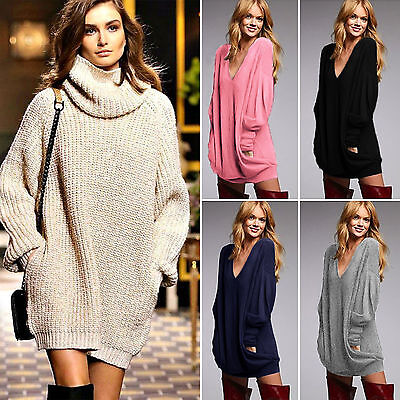 Women Loose Knitted Sweater Mini Dress Oversized Long Sleeve Jumper Top Pullover