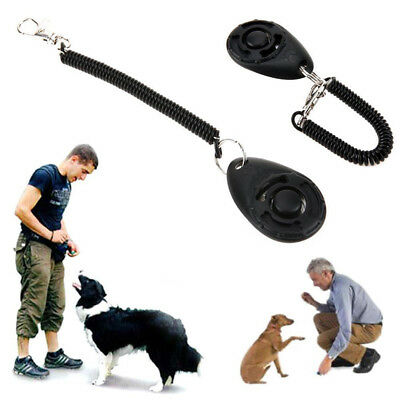 Pet Dog Click Clicker Training Obedience Trainer Aid con cinturino da polso