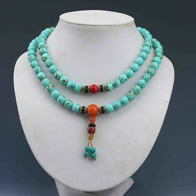 Exquisite Chinese Turquoise Hand Woven Necklace
