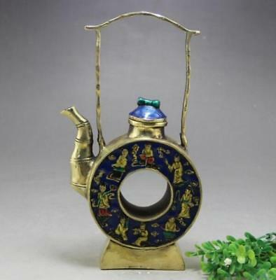 chinese old hand engraving pretty brass cloisonné teapot collect