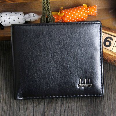 Fashion Men PU Wallet Purse Card Holder Short Brown Small Solid Casual