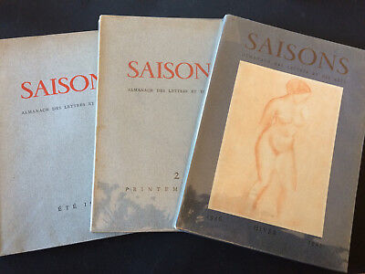Revue Saisons-N°1, 2 & 3 - 1945/46/47 - Camus, Guillevic, Picasso, Etc.-Tbe-Arts