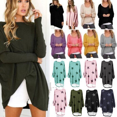 Women Batwing Long Sleeve Tops Blouse Loose Casual Jumper Pullover Sweater Shirt