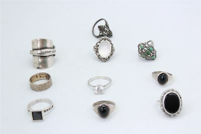 Brilliant Lot of 10 x Vintage .925 STERLING SILVER Rings Inc.STONE SET -55g