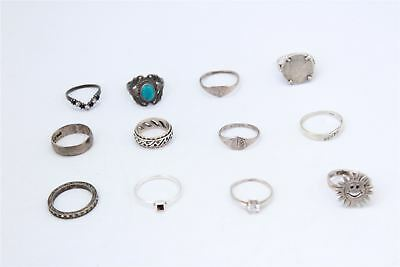 Wonderful Lot of 12 x Vintage .925 STERLING SILVER Rings Inc.Stone Set -29g