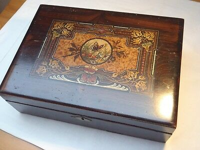 Victorian/Edwardian art nouveau decorated writing box- scumbled pine -  restored