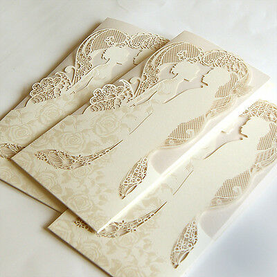 Couple Personalised Wedding Invitations Laces Laser Cut Free P*P FREE ENVELOPES