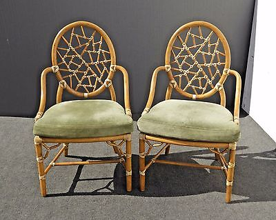 Pair AUTHENTIC Cracked Ice McGUIRE Vintage Bamboo Rattan Green Suede ARM CHAIRS