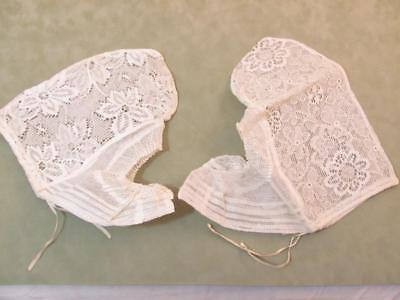 2 Vintage Antique Womens White Lace Dutch Folk Costume Bonnet Cap Hat 1800s