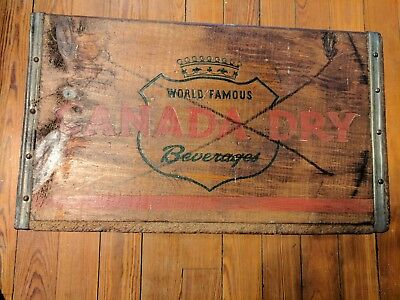 Vintage CANADA DRY BEVERAGES Wooden Crate with handles