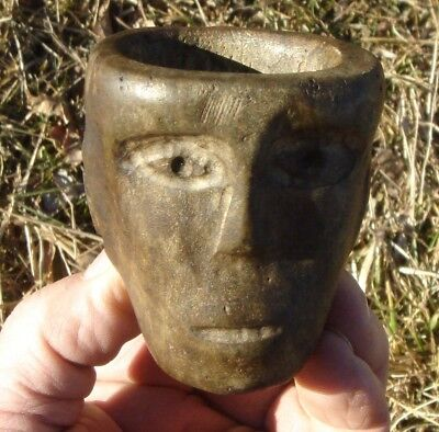 PIPE:  FACE-EFFIGY; FORT ANCIENT AREA, SOUTHERN OHIO, 19th Century Find