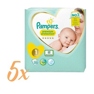 5 x Pampers Premium Protection New Baby Windeln, Gr. 1 , 2-5kg , =115 Windeln