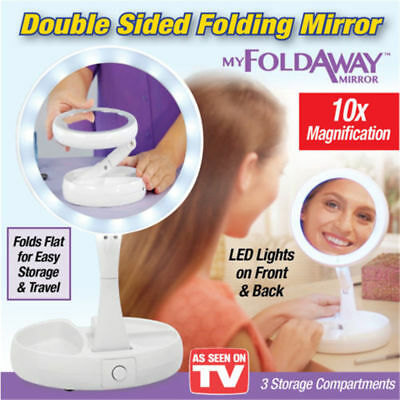 My Fold Away Mirror LED-illuminated Double Sided 10x magnification Makeup MirrMC