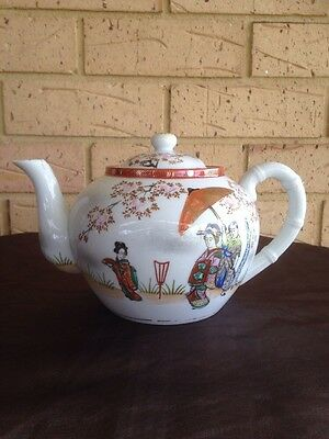 ANTIQUE JAPANESE ROXY CHINA HAND PAINTED PORCELAIN TEA POT~ 1900s