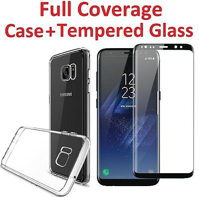 For Samsung Galaxy Note 8 S8 S9 Plus Thin Full Body Case Cover Tempered Glass