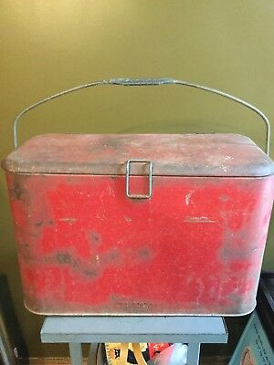 Early Vintage Picnic Cooler Bottle Carrier Progress Refrigerator Co. Red Rusty