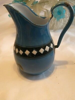 Old Blue Enamel Cream Pitcher Black White Check Band From Czechoslovakia