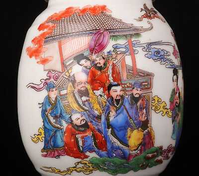 Porcelain Jar Old Handmade Painting Eight Fairies Exquisite Handicraft Gift Coll