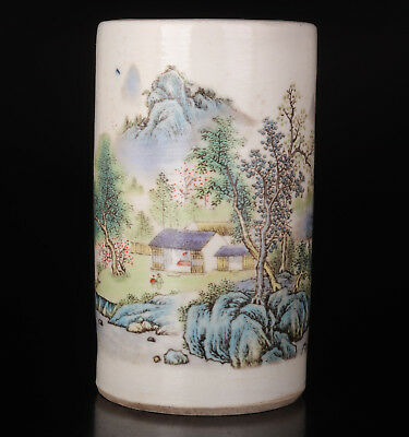 Old Porcelain Jar Pen Container Handmade Painting Tree Mountain Scenery Handicra