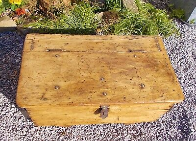 vintage tool chest, rustic old pine trunk, French,  coffee table