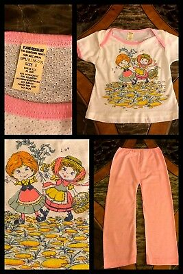 Vintage Girls Pajamas Pink Short Sleeve Top Pants Graphics Thermal 1970s Sz 8