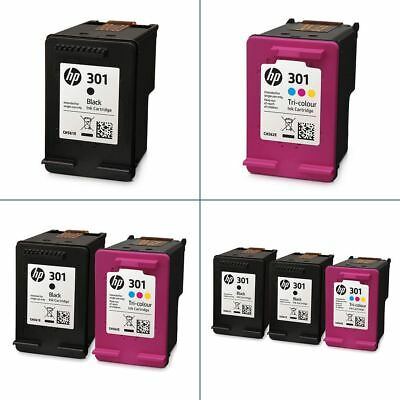 Genuine HP 301 Black & Colour Ink Cartridges - Original HP Cartridges