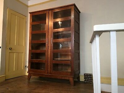 A Vintage French Shop Display Cabinet In Oak. 1950s 1960s Haberdashery School