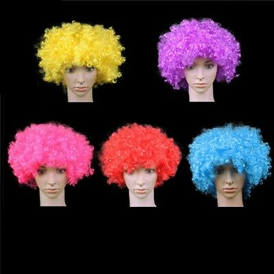 80s CURLY AFRO WIG MULTI COLOUR PARTY CLOWN FUNKY DISCO KIDS CHILDREN