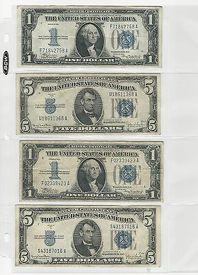 1934 Blue Seal notes -- $1 & $5 Silver Certificates, Circulated