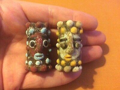 Set Of Two PHOENICIAN Double Sided Face Beads Unusual, Historical Jewellery.