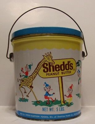 VTG Shedd's Peanut Butter 5lb Circus Animal Pail Tin Can with Blue Lid EMPTY