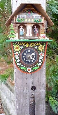 Large Toggili German Cuckoo style Clock with Weather Station in runnin condition