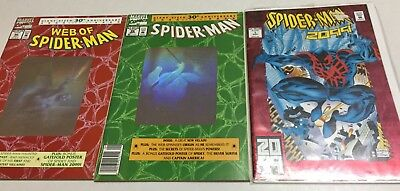 Lot of 3 Marvel Comics - SPIDERMAN 2099 Red Foil, (2) Web of Spider-Man Giant