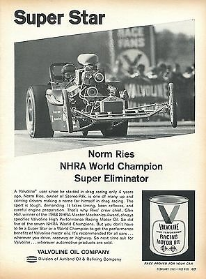 1969 Valvoline Racing Motor Oil Super Eliminator World Champion Norm Ries Ad