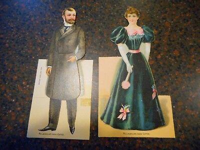 2 - 1800's McLAUGHLIN'S XXXX COFFEE PAPER DOLL AD TRADE CARDS