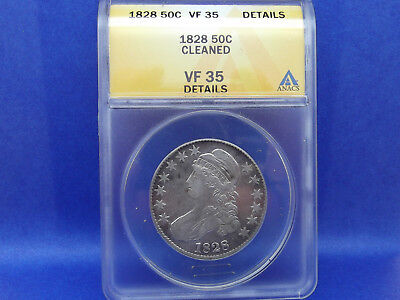 1828 Capped Bust Half Dollar Coin ANACS VF-35 Details Sq 2 Small 8 Lg Letters