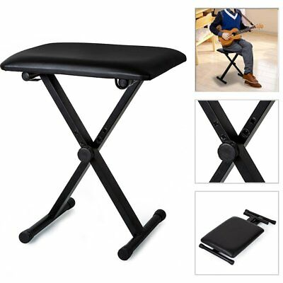 Piano Stool Keyboard Bench Black Padded Seat Cushion Chair Adjustable Height