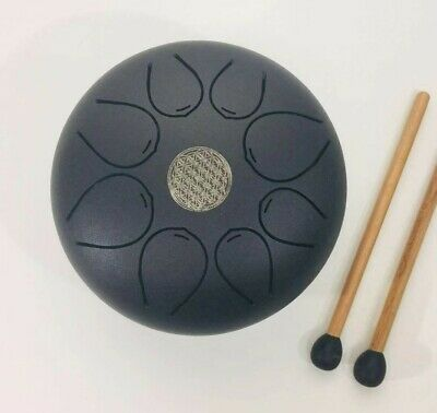 Steel Tongue Drum Hand Pan Drum Chakra drum WuYou 9inch Great Gift, Silver