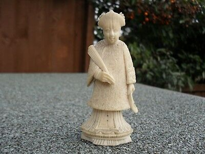 Antique Bovine Bone Chinese Chess Piece Figure Queen Female Lady