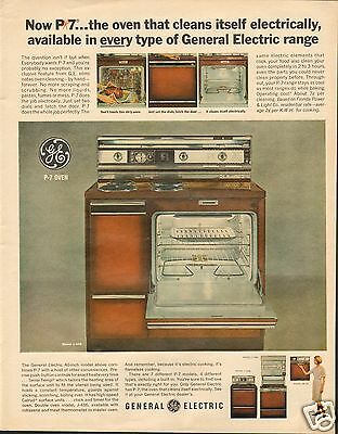 1965 General Electric GE P7 Electric Range Oven LARGE Print Ad