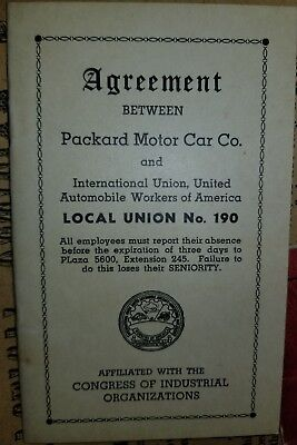 1944 Packard Motor Car Co. Agreement Local Union BOOKLET Find Another